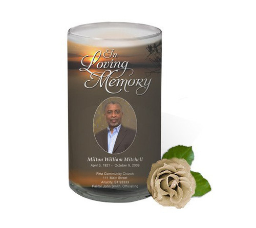 Kenya Memorial Glass Candle 3x6