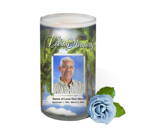 Paradise Memorial Glass Candle 3x6