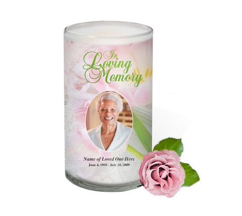 Pearls Memorial Glass Candle 3x6