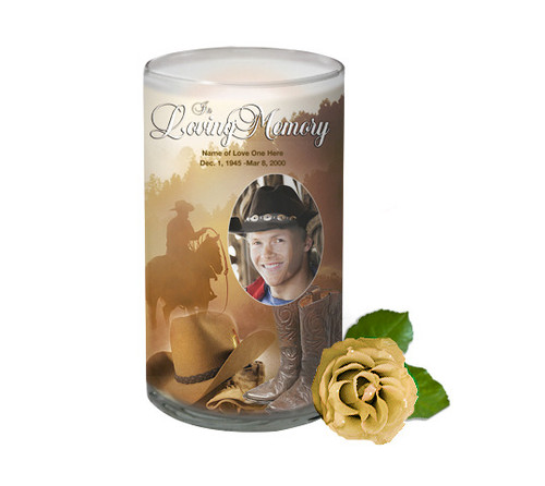 Ranch Memorial Glass Candle 3x6