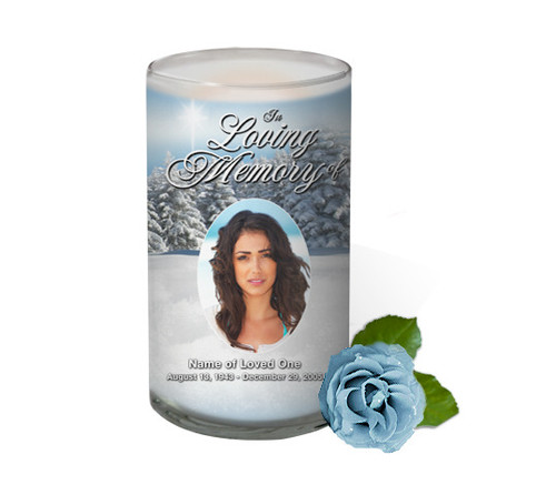 Snowcaps Memorial Glass Candle 3x6