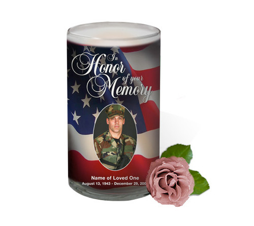 US Flag Memorial Glass Candles 3x6