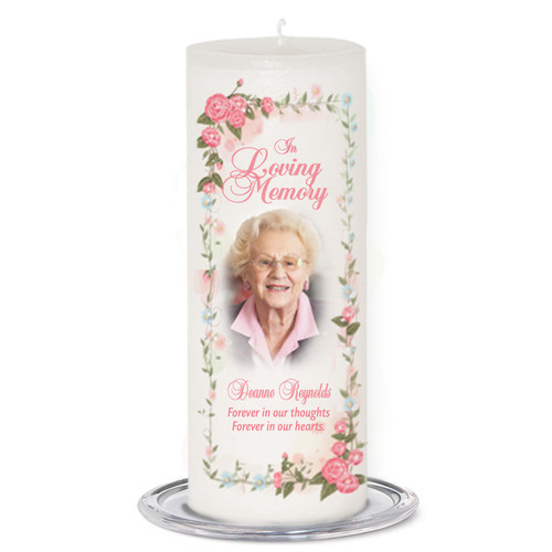 Blush Memorial Wax Pillar Candles