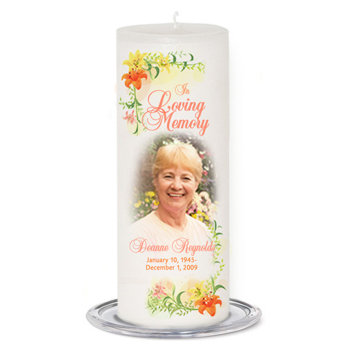 Lily Memorial Wax Pillar Candles