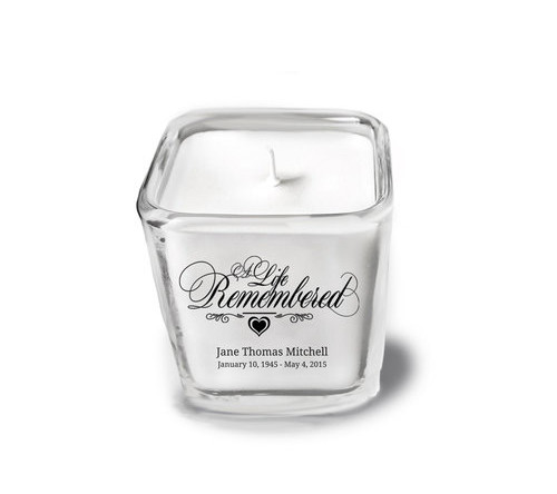 A Life Remembered Memorial Glass Cube Candle Holder top view