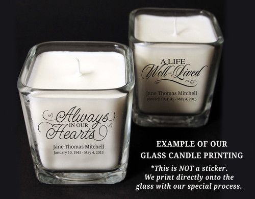 Always Personalized Memorial Glass Cube Candle Holder duo sample