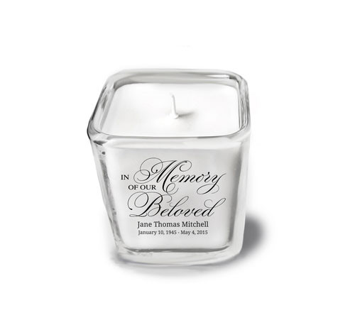 Beloved Personalized Glass Cube Candle