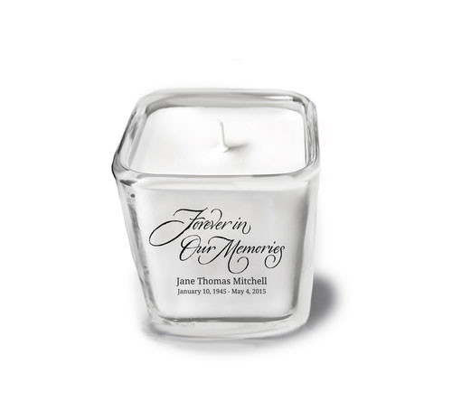 Forever In Our Memories Memorial Glass Cube Candle Holder top view