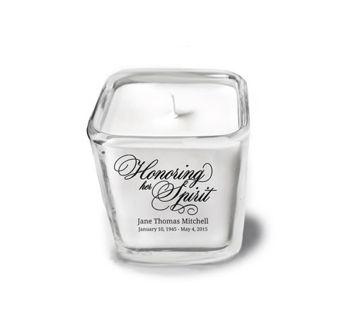 Honoring Her Spirit Memorial Glass Cube Candle Holder top
