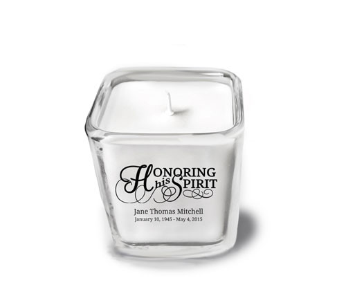 Honoring His Spirit Memorial Glass Cube Candle Holder