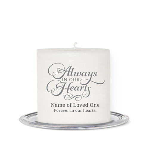 Always In Our Hearts Small Wax In Loving Memory Candle front