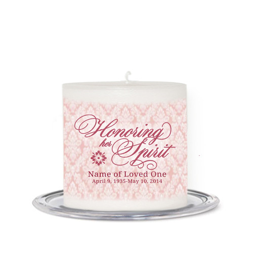 Honor Her Spirit Small Wax Memorial In Loving Memory Candle