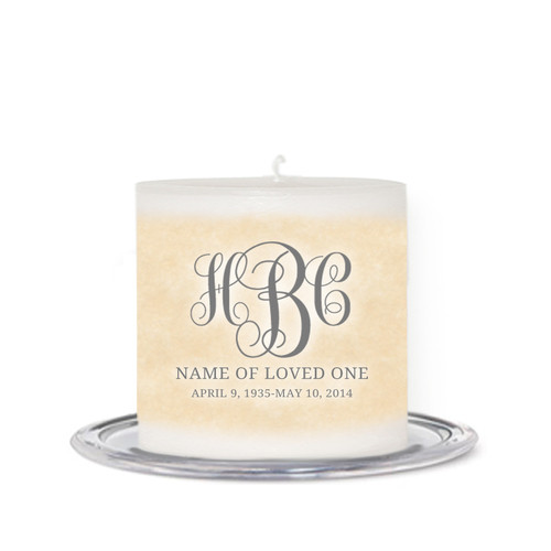 Monogram Script Small Wax Memorial In Loving Memory Candle front