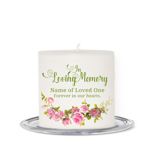 Rosette Small Wax Memorial In Loving Memory Candle front
