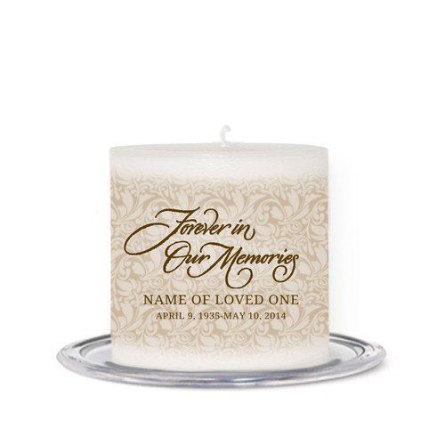Sandstone Small Wax Memorial In Loving Memory Candle front