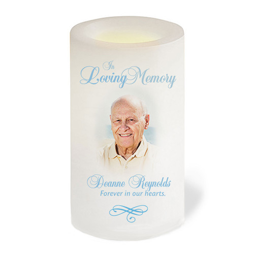 Simple Flameless In Loving Memory Memorial LED Candle front view