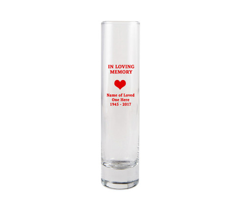 In Loving Memory Glass Bud Vase
