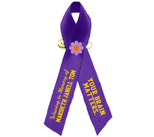 Alzheimer's Awareness Personalized Ribbon (Purple) - Pack of 10
