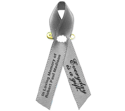 Brain Cancer Awareness Personalized Ribbon (Gray) - Pack of 10