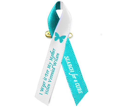 Cervical Cancer Awareness Personalized Ribbon (Teal/White) Pack of 10