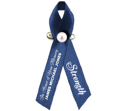 Personalized Colon Cancer Ribbon (Dark Blue)
