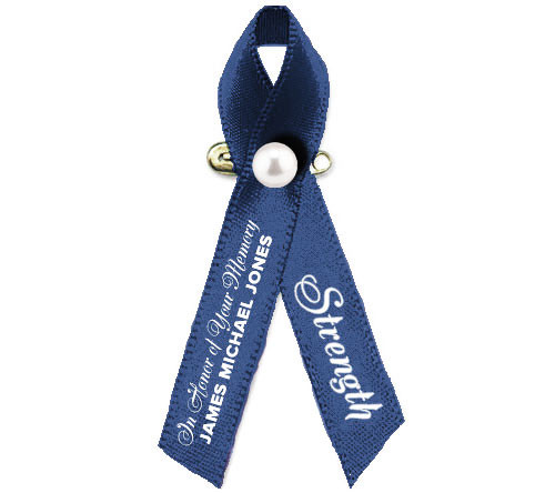Colon Cancer Awareness Personalized Ribbon (Dark Blue) Pack of 10
