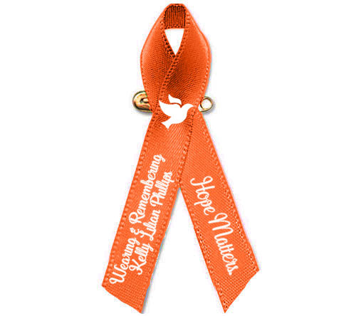 Personalized Leukemia, Kidney Orange Cancer Ribbon