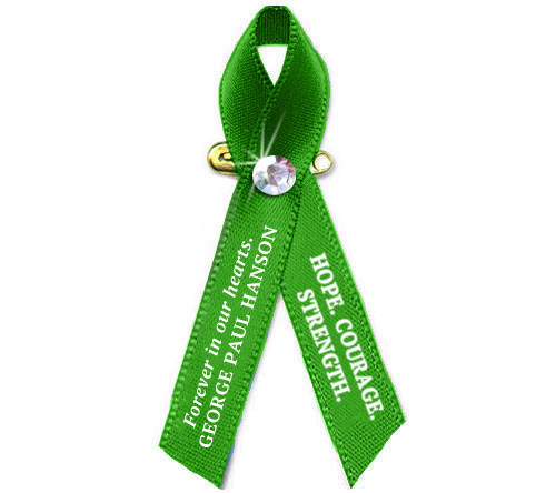 Personalized Liver Cancer Awareness Ribbon (Emerald Green) - Pack of 10