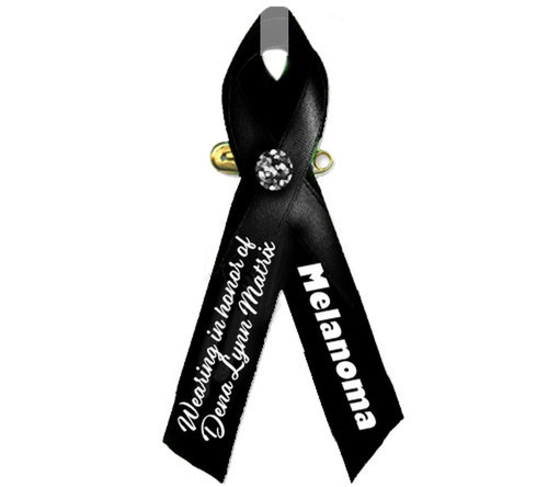 Personalized Awareness Melanoma Cancer Ribbon (Black)
