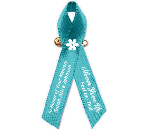 Personalized Ovarian Cancer Awareness Ribbon (Teal) - Pack of 10