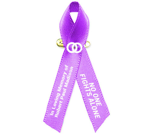 Personalized Testicular Cancer Awareness Ribbon (Orchid Purple) - Pack of 10