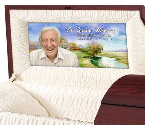 Country Watercolor Casket Head Panel Insert
