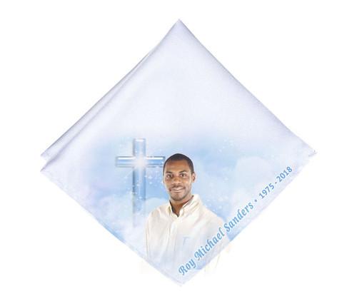 Adoration Cross Mens or Ladies Memorial Personalized Handkerchief