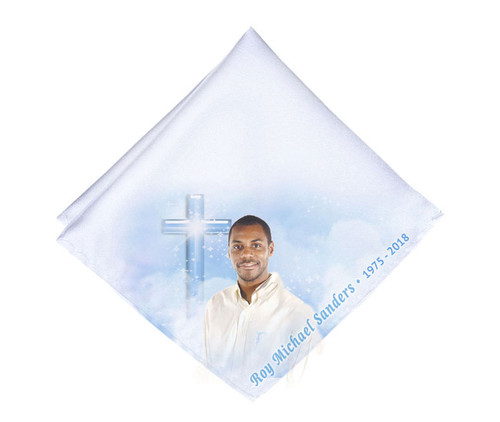 Adoration Cross Mens or Ladies Memorial Personalized Handkerchief