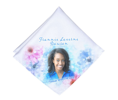 Blue Beauty Mens or Ladies Memorial Personalized Handkerchief