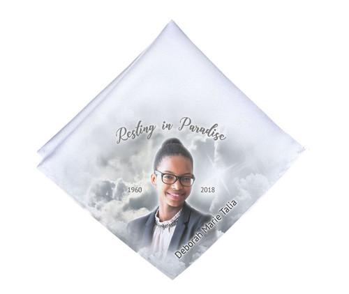 Grayscale Skies Mens or Ladies Memorial Personalized Handkerchief