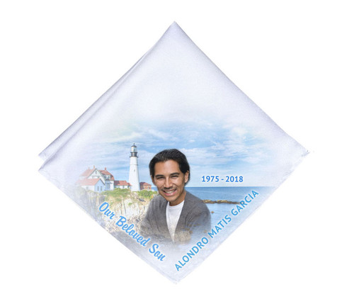 Lighthouse View Mens or Ladies Memorial Personalized Handkerchief