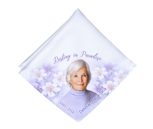 Lily of the Valley Mens or Ladies Memorial Personalized Handkerchief