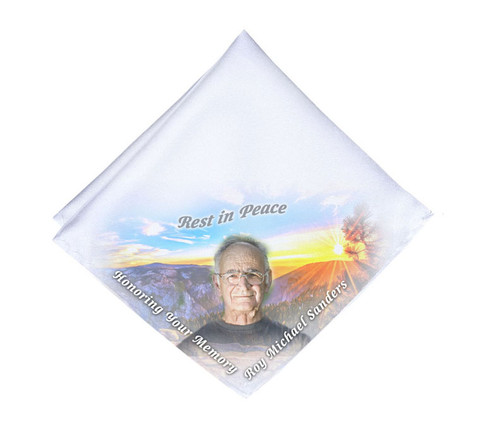 Mountaintop Horizon Mens or Ladies Memorial Personalized Handkerchief