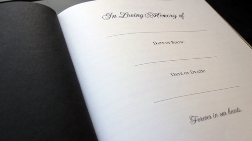 sunny funeral guest book inside view