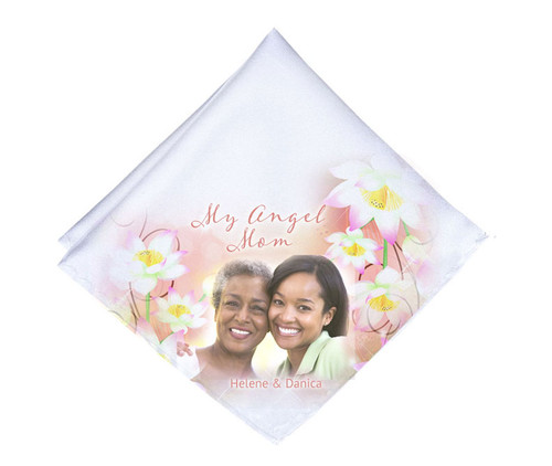 White Blossoms Mens or Ladies Memorial Personalized Handkerchief