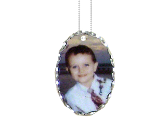 Personalized Oval Charm Florentine Edge In Loving Memory Photo Pendant