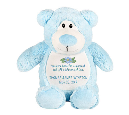 Light Blue Teddy Bear Memorial Stuffed Animal/Urn