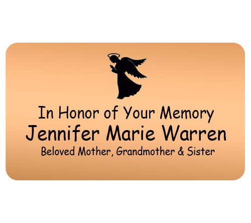 Personalized 2 x 3 Flexible Memorial Urn Plate