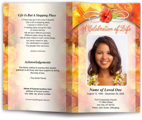 hibiscus funeral program template