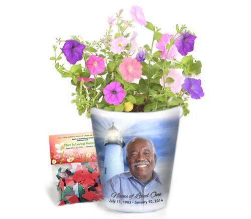 Lighthouse Personalized Memorial Ceramic Flower Pot