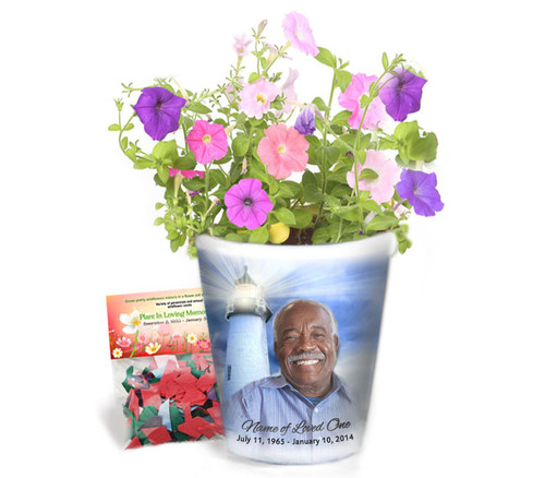 Lighthouse Personalized Memorial Ceramic Flower Pot
