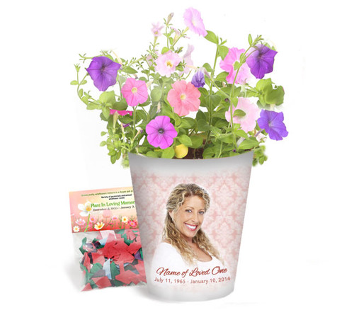 Pink Damask Personalized Memorial Ceramic Flower Pot