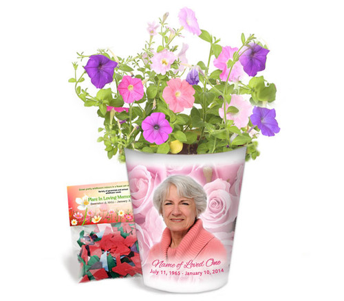 Pink Roses Personalized Memorial Ceramic Flower Pot