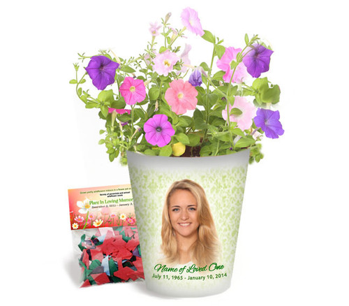 Springtime Personalized Memorial Ceramic Flower Pot